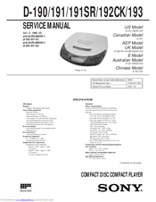 Sony D-191SR Service Manual