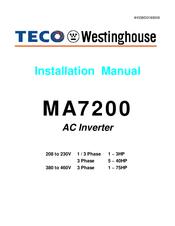 Teco Westinghouse Motor Ma7200 Manuals