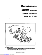 Panasonic EY3531 - 15.6V WOOD SAW Operating Instructions Manual