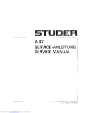 Studer A 67 Manuals