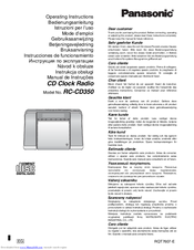 Panasonic RC-CD350 Operating Instructions Manual