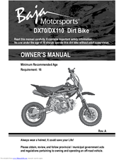 baja dx70 owner s manual pdf download rh manualslib com baja warrior mini bike manual baja 49cc dirt bike manual