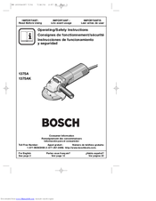 Bosch 1375A - Grinder Angle 4 1/2 Small 6 Amp Operating Instructions Manual