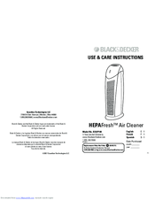 Black & Decker HEPAFreshBXAP148 Use & Care Instructions Manual