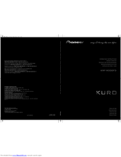 Pioneer KURO KRF-9000FD Operating Instructions Manual