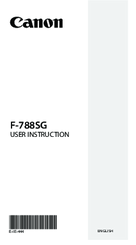 Canon F-788SG User Instruction