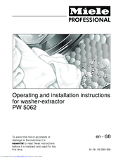Miele PW 5062 Operating And Installation Instructions