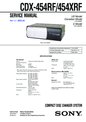 Sony CDX-454RF - Compact Disc Changer System Service Manual