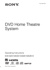 Sony DAV-DZ810 Operating Instructions Manual