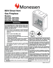 Monessen Hearth Direct Vent Gas Fireplace Bdv600 Manuals