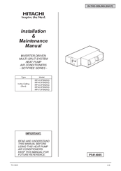 Hitachi RPI-6.0FSN2SQ Installation & Maintenance Manual