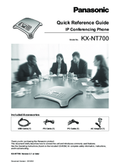 Panasonic KX-NT700 - Conference VoIP Phone Quick Reference Manual