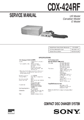 Sony CDX-424RF - Compact Disc Changer System Service Manual