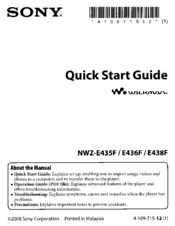 sony walkman nwz e438f manuals rh manualslib com Digital Walkman sony walkman nwz-e438f software