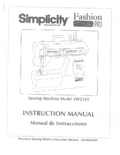 Instruction Manual, Simplicity SW2145 : Sewing Parts Online
