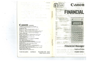 Canon Financial Manager Instructions Manual