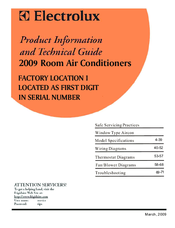 Frigidaire FAM156R1AB Product Information And Technical Manual