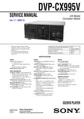 Sony Dvp Cx995v Operating Instructions Dvp Cx995v Cd Dvd Player Manuals Manualslib