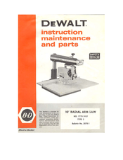 Black & Decker 7770/3427 Instruction And Maintenance Manual