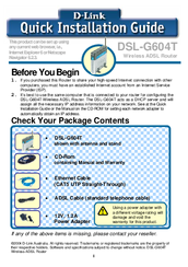 D-Link DSL-G604T Quick Installation Manual