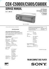 Sony CDX-C5000X - Fm/am Compact Disc Player Service Manual