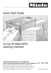 Miele W 5965 WPS Quick Start Manual