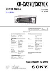 SONY XR-CA370 SERVICE MANUAL Pdf Download. on