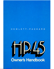HP HP-45 Owner's Handbook Manual