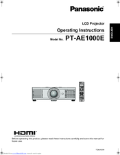 Panasonic PT-AE1000E Operating Instructions Manual