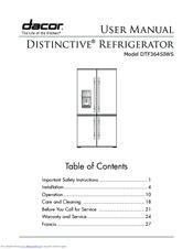 dacor distinctive dtf364siws manuals rh manualslib com dacor refrigerator service manual Refrigerator Dimensions