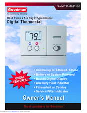 goodman tstatg2152 2 manuals rh manualslib com goodman thermostat manual tstatg4272 goodman thermostat troubleshooting