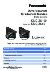 PANASONIC LUMIX DMC-ZS100 OWNER'S MANUAL Pdf Download