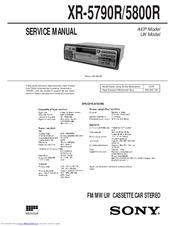 SONY XR-5790R SERVICE MANUAL Pdf Download. on