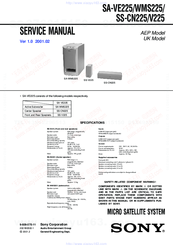 Sony SA-VE225 Service Manual