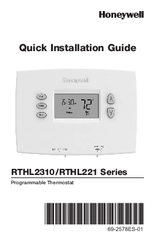 Honeywell RTHL2310B Quick Installation Manual