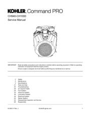 KOHLER COMMAND PRO CH940 SERVICE MANUAL Pdf Download