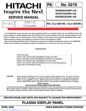 hitachi 42hdt52a manuals rh manualslib com Hitachi TV Repair Manual Hitachi Repair Manual