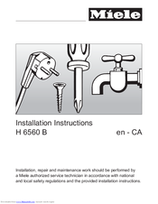 Miele H 6560 B Installation Instructions Manual