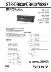sony str db930 fm stereo fm am receiver manuals. Black Bedroom Furniture Sets. Home Design Ideas