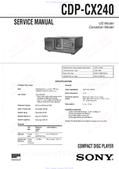 Sony CDP-CX240 - 200 Disc Cd Changer Service Manual
