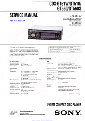sony cdx gt510 fm am compact disc player manuals rh manualslib com sony xplod cdx-gt610ui wiring diagram Sony Cdx Gt630ui Manual