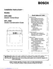 bosch wta3500 manuals rh manualslib com Bosch Axxis Dryer User Manual Bosch Nexxt 500 Series Dryer