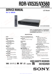 Sony RDR-VX535 - DVD Recorder & VCR Combo Player Service Manual