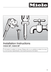 Miele H 4844 BP Installation Instructions Manual