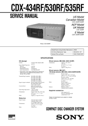 Sony CDX-530RF - Compact Disc Changer System Service Manual