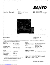 Sanyo DC -X1000MD Service Manual