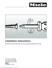 Miele DG 4086 Installation Instructions Manual