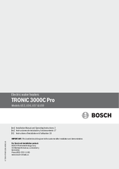 Bosch TRONIC 3000C Pro US7 Installation Manual And Operating Instructions