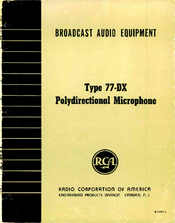 RCA 77-DX Instructions Manual