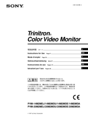 Sony Trinitron PVM-14M2MDE Instructions For Use Manual